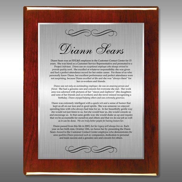 Award Plaque - Rosewood Gloss