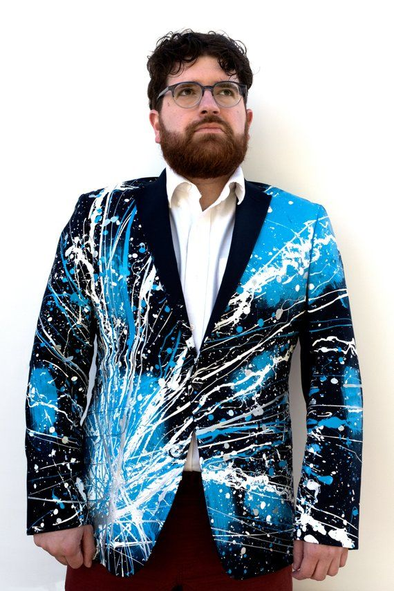 aa1ff570f2f5 One of a kind, Blazer, Men's, Unique, Customized Men's, Painted, Suit,  Jacket, Black Blazer, Silver,