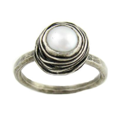Nested White Pearl Engagement Ring from Turtle Love Co.