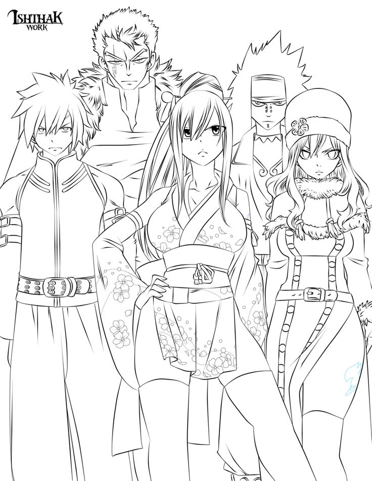 Fairy tail team lineart by on deviantart fairy tail pinterest - Coloriage manga rock ...