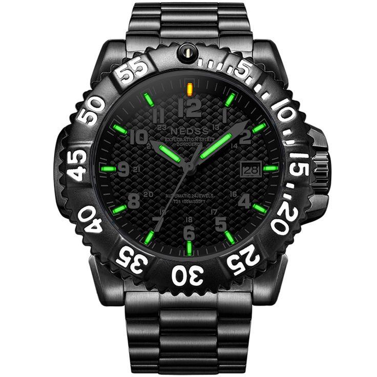 Luxury brand NEDSS Men large watch Tritium Luminous seiko Mechanical watches sapphire glass 100m waterproof Mechanische Uhren