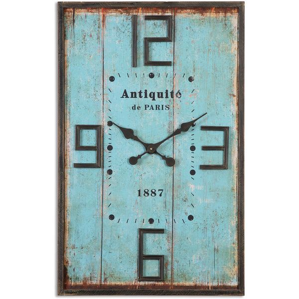 This blue wall clock is aged and antiqued to look vintage and delightful. The frame is made from distressed mahogany, and thus sturdier than it appears. Utilizes quartz movement technology. Quartz mov