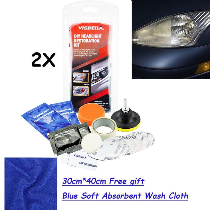 US $22.50 Visbella 2kits/lot Headlamp Brightener Kit DIY headlight restoration with 30cm*40cm FREE GIFT blue soft absorbent wash cloth #Visbella #2kits/lot #Headlamp #Brightener #headlight #restoration #with #30cm*40cm #FREE #GIFT #blue #soft #absorbent #wash #cloth