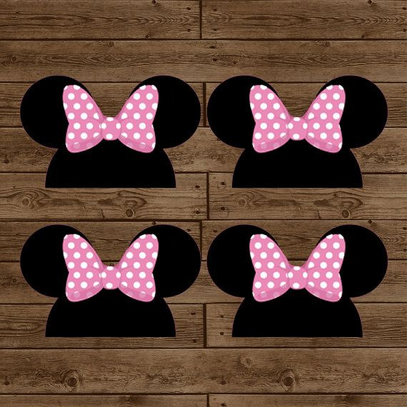 Minnie Mouse Ears Treat Bag Toppers Diy Printable Birthday Party Instant Pink Black