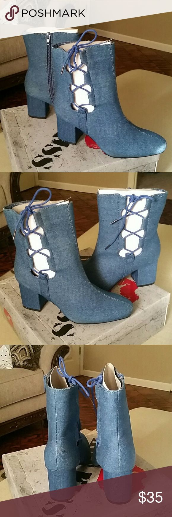 FLASH SALE💥Hot Kiss Gila Denim Boots Brand new in box Size 8 Denim Boots Hot Kiss Shoes Ankle Boots & Booties