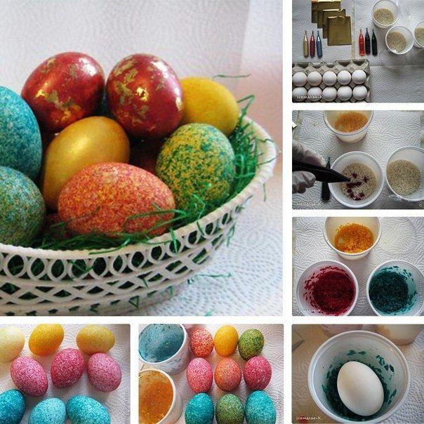Еще один необычный вариант покраски яиц - с помощью пищевых красителей и риса.