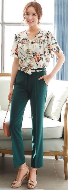 StyleOnme_Perfect Fit Straight Leg Pants #green #dresspants #koreanfashion #kstyle #kfashion #dailylook #elegant #feminine #seoul