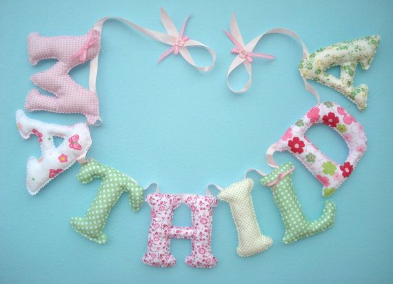 Fabric letter name banner girl's room name banner  PINK