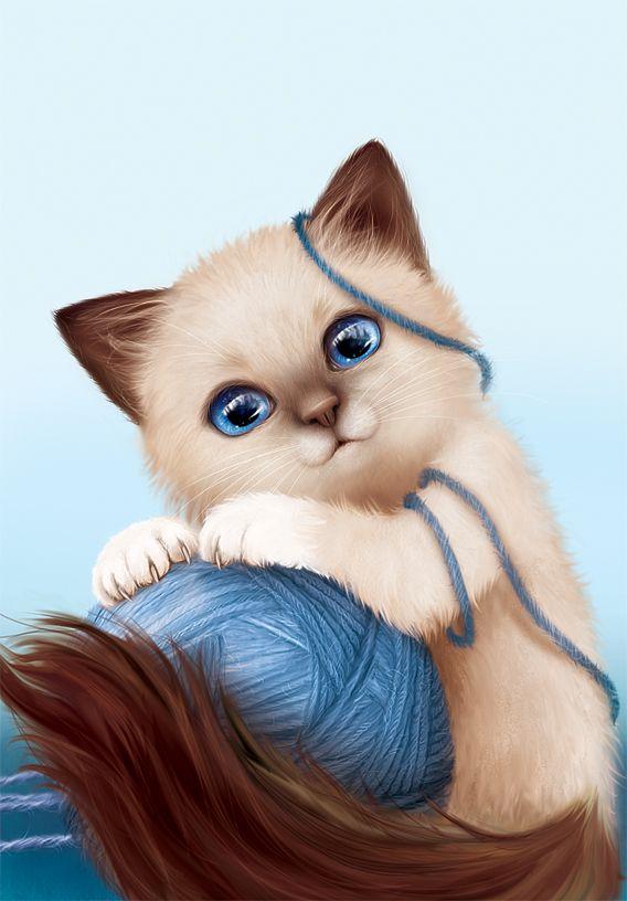 Милые картинки кошечек мультяшные