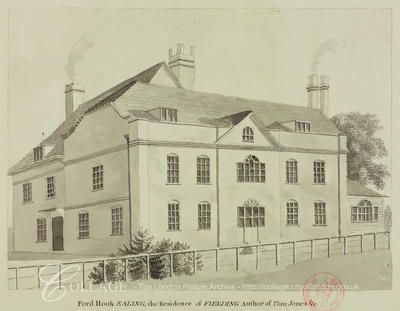 Fordhook House, Ealing  View of Fordhook House in Ealing, the residence of Henry Fielding.  c1800