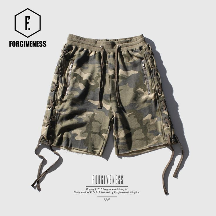FORGIVENESS 2017 tide brand spring and summer new men's high street camouflage side line with men  casual pants shorts