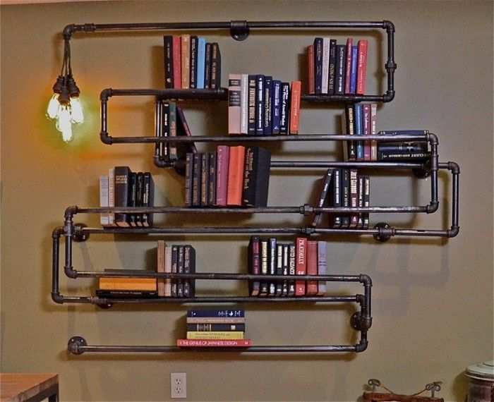 plumbing pipe shelves and hangers tag res plomberie et tag res en tuyaux. Black Bedroom Furniture Sets. Home Design Ideas