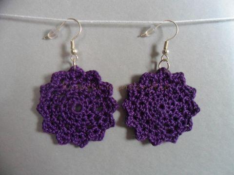 Horgolt lila fülbevaló, kreativmindenfele, meska.hu