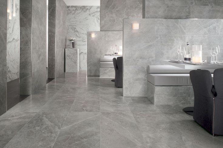"""marble-look ceramic """"Marvel Pro Grey Fleury"""" tiles by Atlas Concorde"""