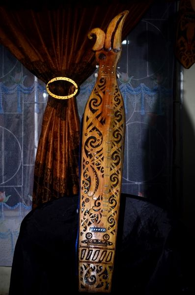Sape Instrument with Hornboll Carving from Dayak Borneo, Price: $ 150.00