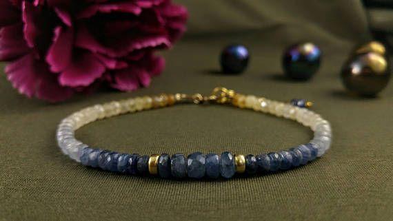 Shaded sapphires bracelet unique & rare 23K gold filled
