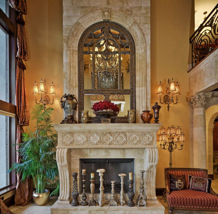 495 best living area images on pinterest fire places for Mediterranean fireplace designs