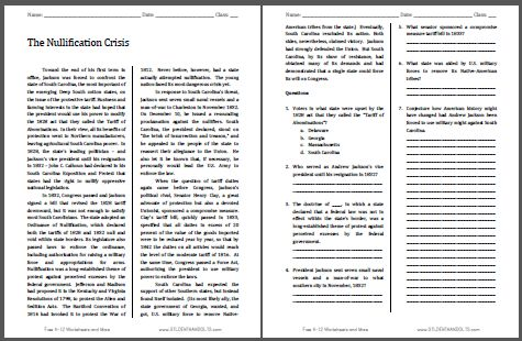 Nullification Crisis - Free Printable American History Reading with Questions for Grades 9-12