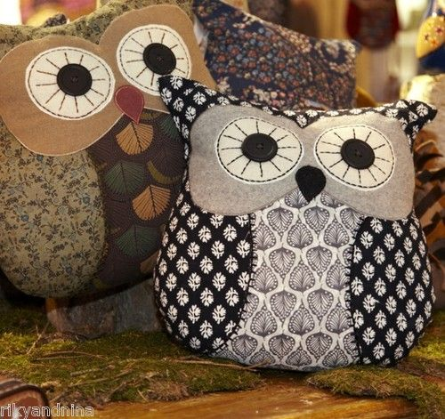 shabby chic floral WOODLAND OWLS cushion retro homespun deco stuffed Owl Pillow | eBay