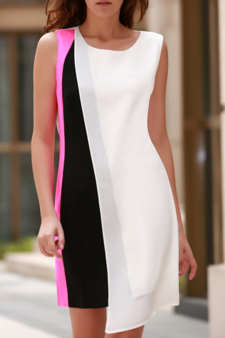Color Block, Round Neck, Chiffon Dress.