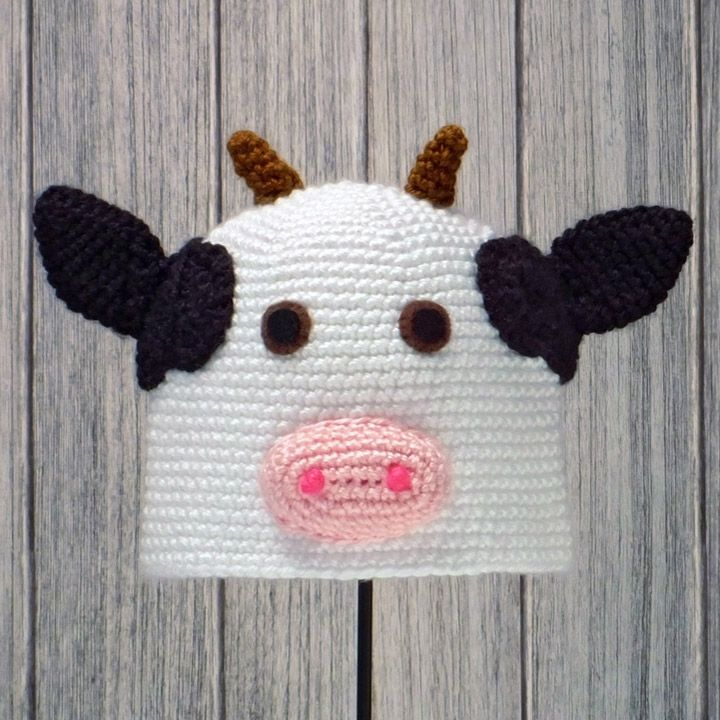 Amigurumi Animal Hats : COW HAT for BABIES and CHILDREN Crochet Pattern in ...