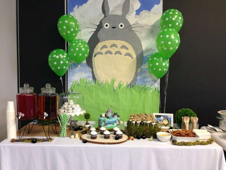 My Neighbor Totoro birthday party dessert table! See more party planning ideas at CatchMyParty.com!