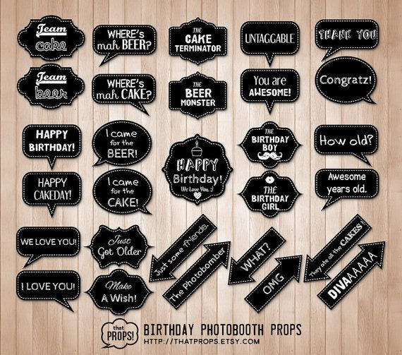 Birthday Photo booth Props ( Digital - Instant Download   Chalkboard Photo booth Birthday Party Speech Bubble Props Signs   Party Printables