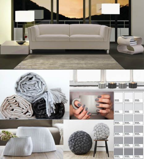 A nice #palette from white to gray, a timeless #color range to furnish and decorate a modern #living area. #interiordecor