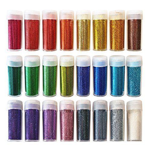 Original Briefpapier Arts and Crafts Glitzer-Shake-Gläser, extra feines Pulver, 24 verschiedene Farben. Arbeiten für Schleim-, Schul- und Kinderprojekte (Packung mit 24 Stück)