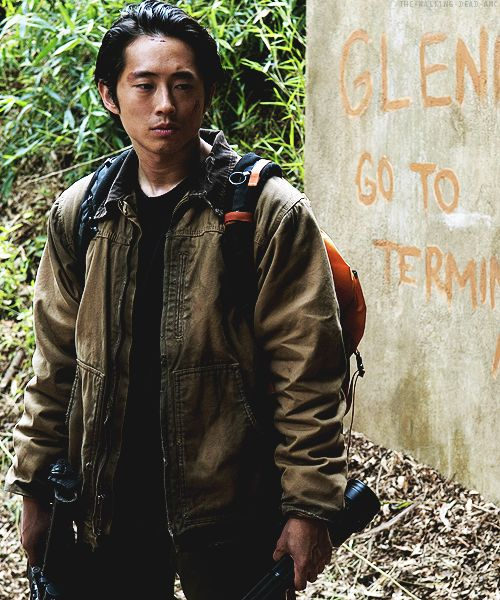 This frame from The Walking Dead is fantastic. It has an enchanting nature background, but Glenn (actor Steven Yeun) has quite a tired effect. His wounds, showing veins, dark coloured clothes all and up to it. Not that it's relevant, but I'm also a big sucker for zombie based things...