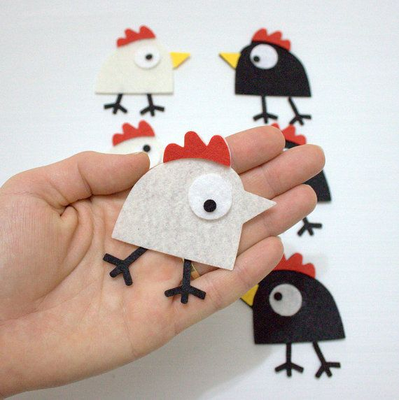 Check out this item in my Etsy shop https://www.etsy.com/listing/124879627/60-pieces-die-cut-felt-comic-bird-cock