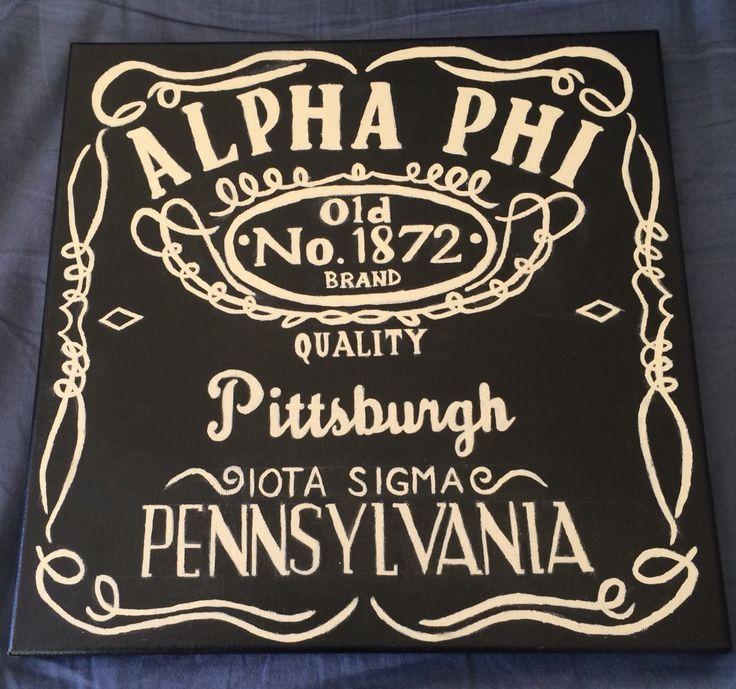 Jack Daniels inspired Alpha Phi sorority canvas