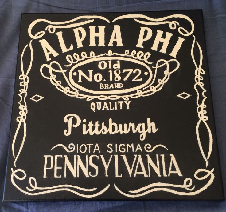 Jack Daniels inspired Alpha Phi sorority canvas
