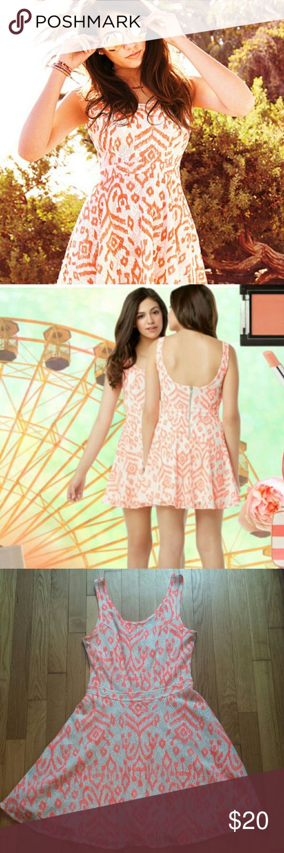 Bethany Mota Neon Dress Super cute orange/white neon Bethany Mota for Aeropostale dress. Zipper closure in back, size S. Lightly worn, excellent condition. Great fun summer days or nights out. Pair with sandals, heels, and some sparkly bracelets for a fun look! Aeropostale Dresses Mini