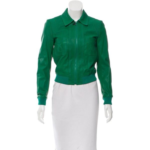 Pre-owned Saint Laurent 2015 Leather Zip-Up Jacket ($1,595) ❤ liked on Polyvore featuring outerwear, jackets, green, 100 leather jacket, real leather jackets, green jacket, zipper leather jacket and zipper jacket