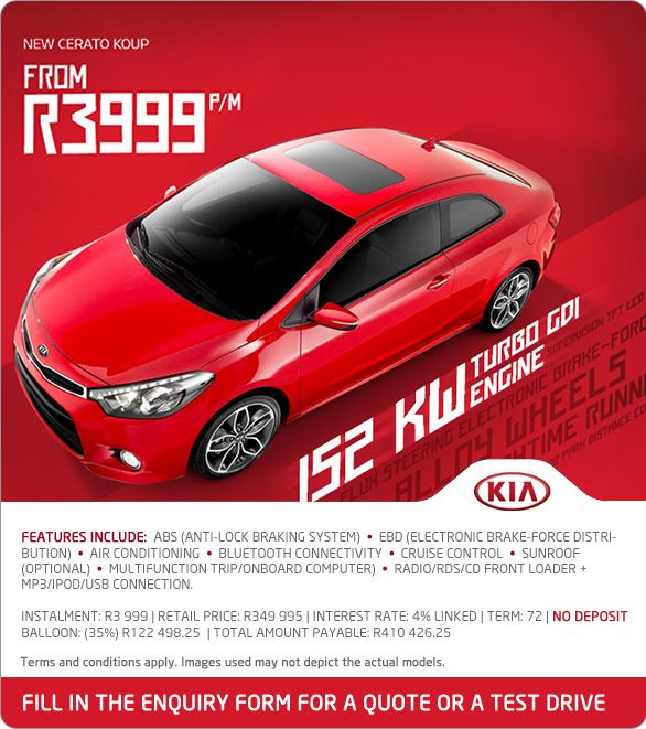 New Kia Cerato Koup 152kW turbo GDI from R3 999pm. Features include: ABS, EBD, cruise control, multifunction trip/on-board computer and more.