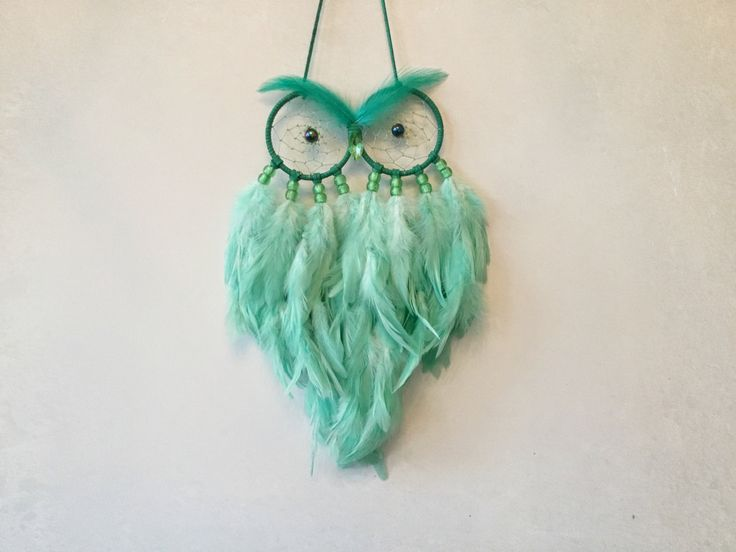 Made to Order - Mint Green Multi Feather Owl Dreamcatcher - owl dream catcher, mint green decor, green dream catcher by MyDreamcatcherLane on Etsy