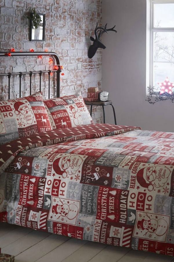 New Christmas Patchwork Duvet Double Bed Quilt Cover Bedding Set