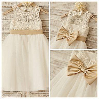 Princess Knee-length Flower Girl Dress - Lace/Tulle Sleeveless – GBP £ 38.49