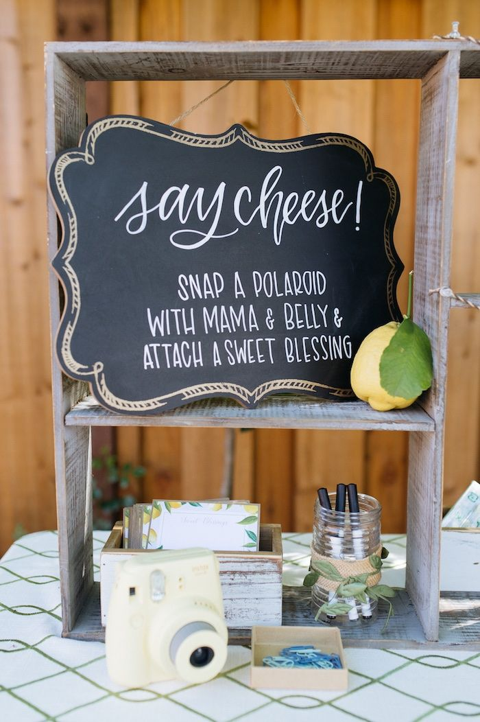 Say Cheese chalkboard party signage from a Rustic Lemon Themed Baby Shower on Ka…