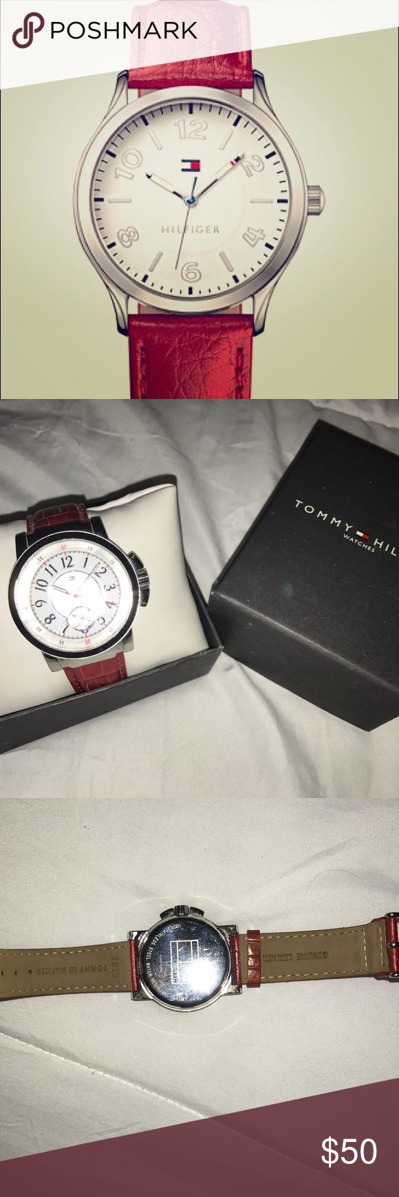 TOMMY RED WATCH Red genuine leather strap. Silver face. Great condition. Working battery. Comes w box and instructions. Tommy Hilfiger Accessories Watches