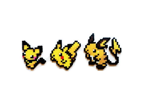 Pokemon Perler  Pichu / Pikachu / Raichu by ShowMeYourBits on Etsy