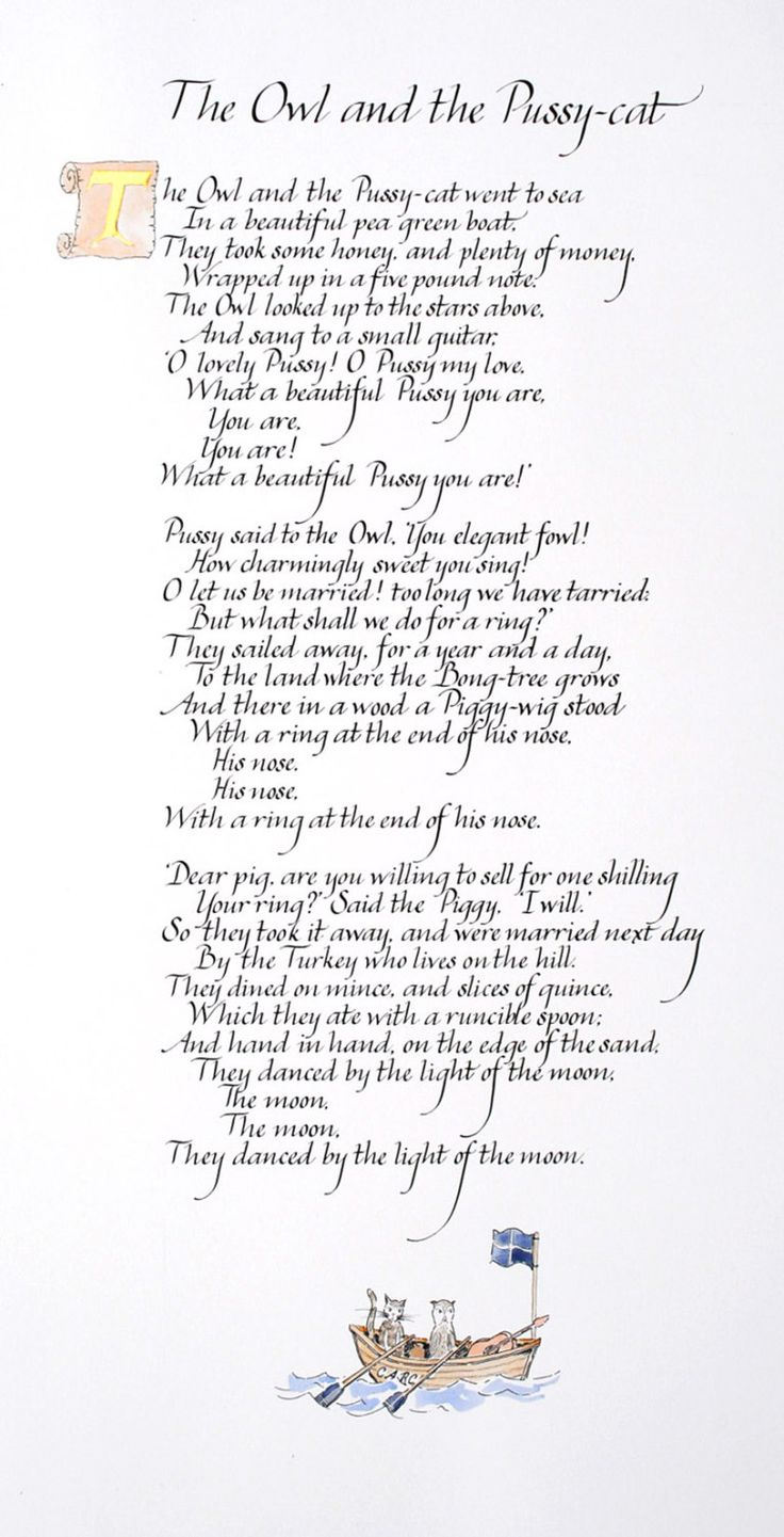 The Owl and the Pussycat poem in handwritten by Calligraphystore. Love this poem ❤