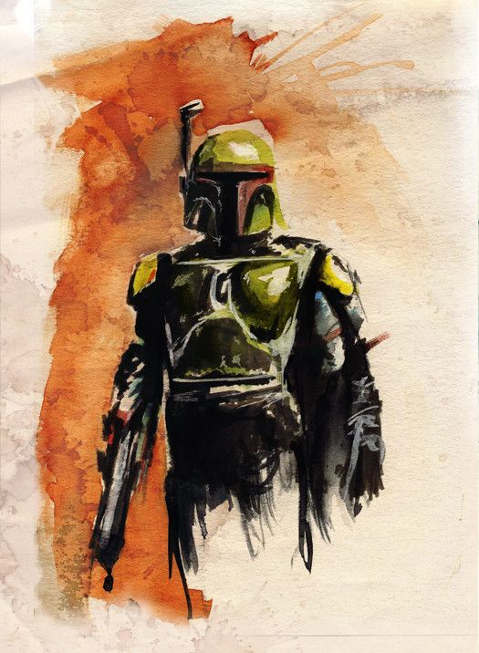 Boba Fett watercolor painting by Terry Cook - Amazing Stuff. He has other Star Wars watercolors too! --- #painting #art #starwars #star #wars