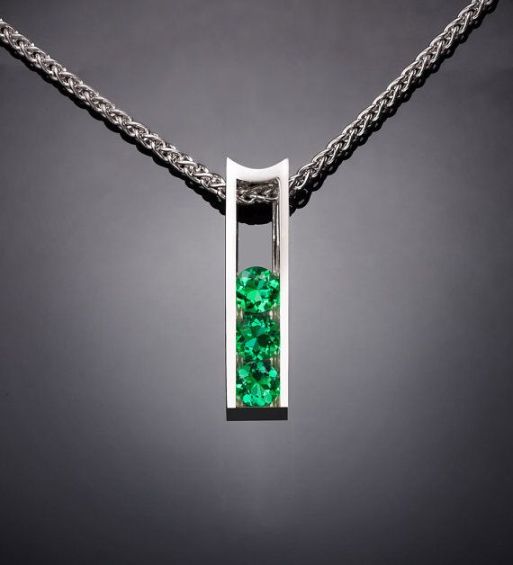 Argentium silver and emerald pendant designed by David Worcester for VerbenaPlaceJewelry.Etsy.com