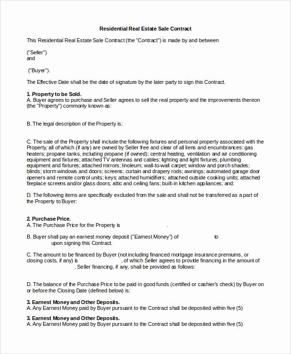 Real Estate Contract Template Awesome 10 Real Estate Sales