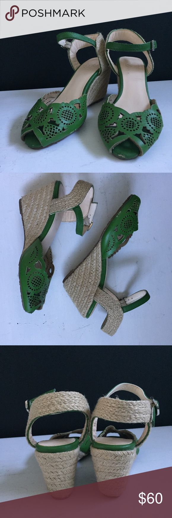 Tory Burch Green Espadrille Wedge Sandals Nice pair of lightly worn Sandals from Tory Burch.  Couple of scuffs as shown by photos.  Very little wear on the sole Tory Burch Shoes Wedges