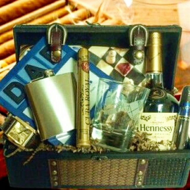 Zotorius Creations Gift Baskets, LLC ~ This Father's Day gift basket consist of medium antique design chest enclosed with a cigar brand…