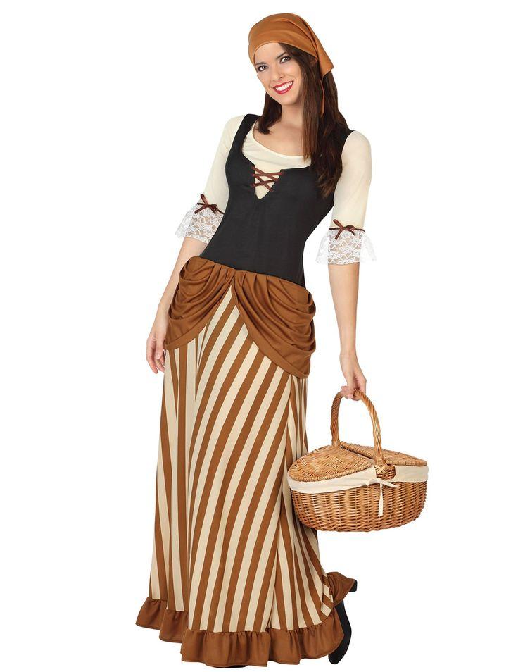 Disfraz campesina mujer: Este disfraz de campesina para adulto incluye vestido y pañuelo (zapatos y cesta no incluidos).Este vestido largo es de poliéster. El pecho tiene un corsé negro con lazos. Las...