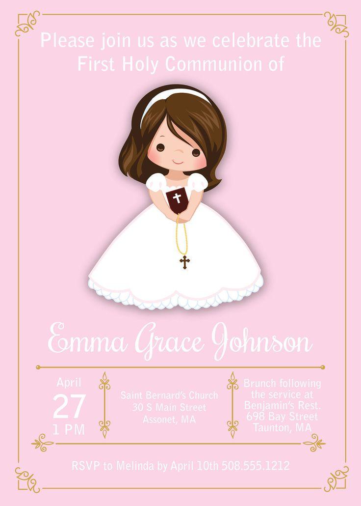 Invita de niña primera comunión invitaciones  primera